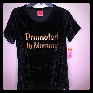 """NWT maternity Blago Velvet """"promoted to mommy"""" tee"""